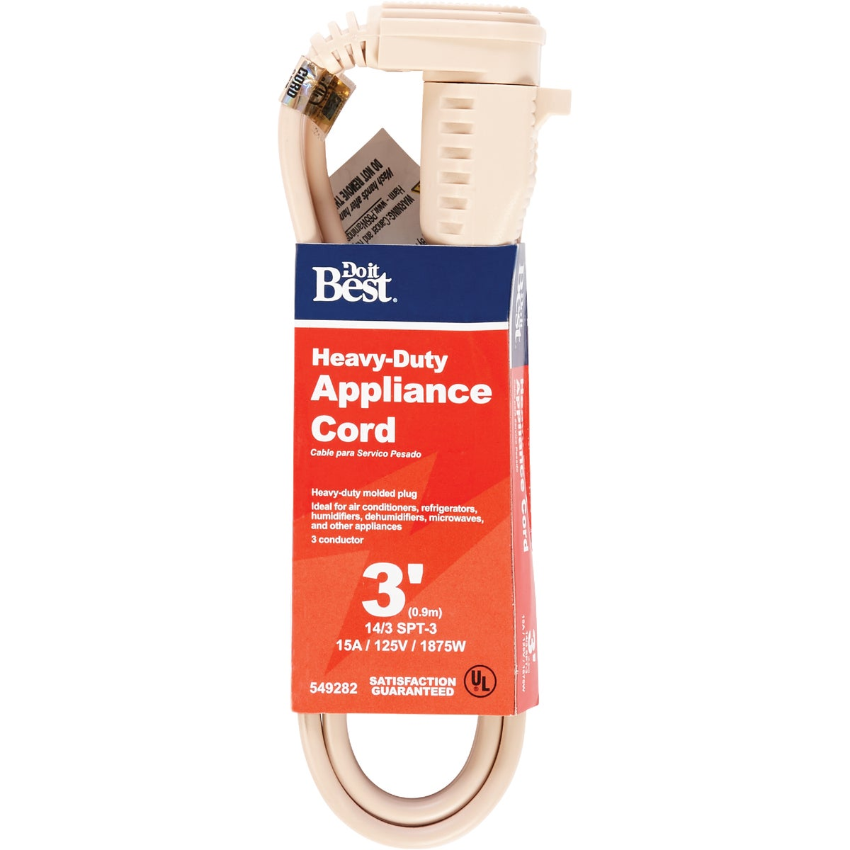 3' 14/3 BEIGE A/C CORD - 550043 by Coleman Cable Hwg