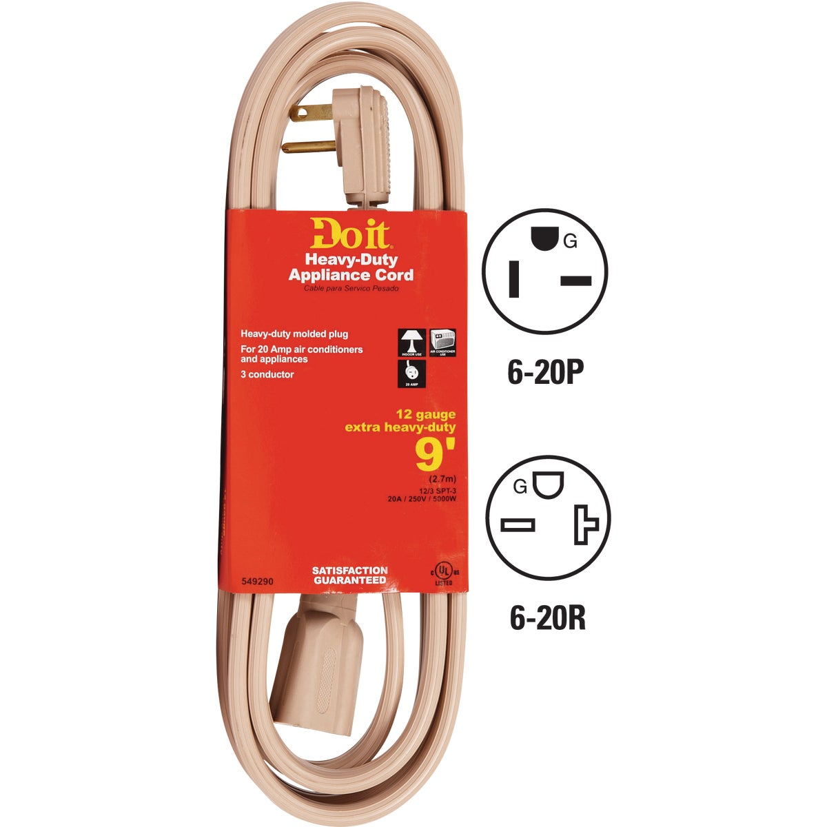 9' 12/3 BEIGE A/C CORD - 550568 by Woods Wire Coleman