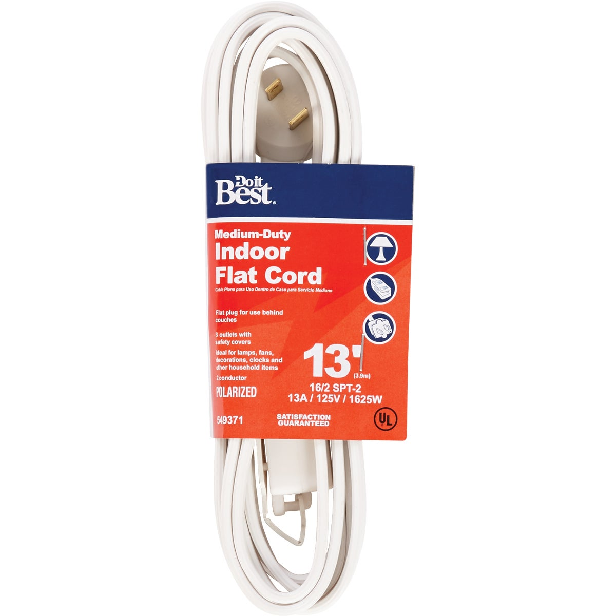 13' 16/2 WHITE FLAT CORD - 552237 by Coleman Cable Import