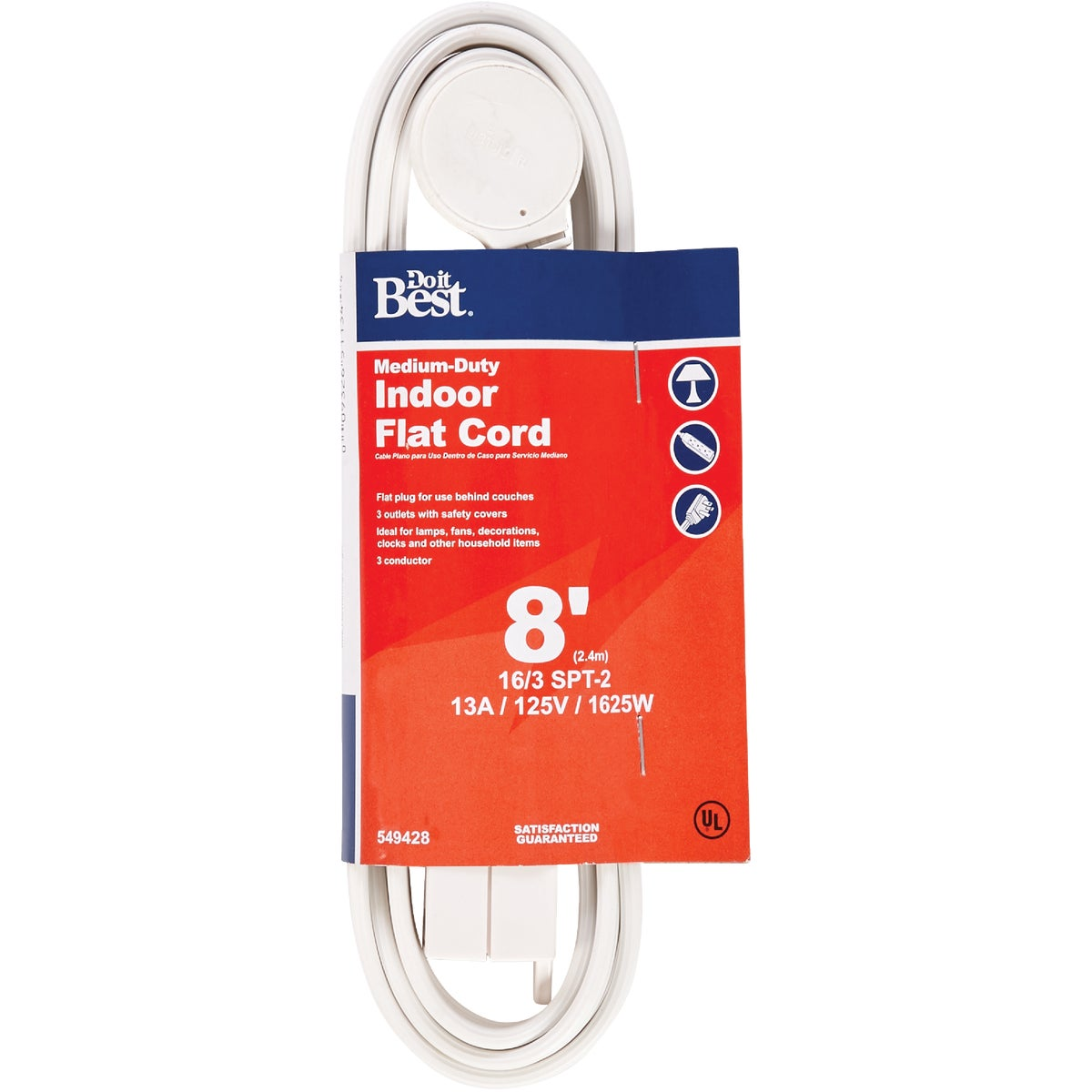 8' 16/3 WHITE FLAT CORD - 552241 by Coleman Cable Import