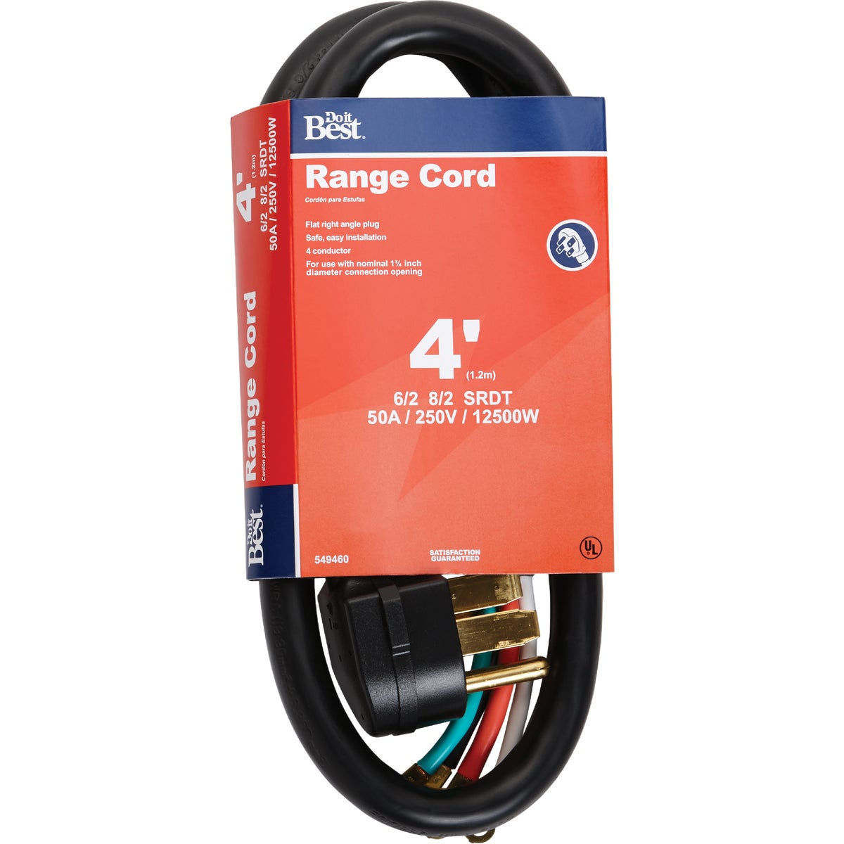4' 6/2 + 8/2 RANGE CORD - 550761 by Coleman Cable Hwg