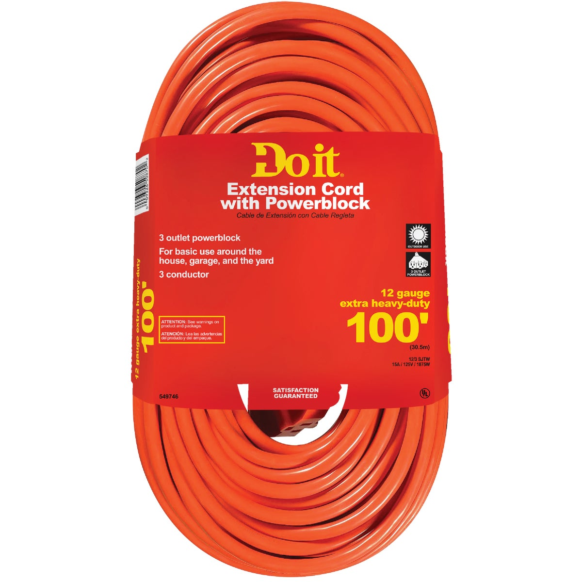100' 12/3 TRIP-TAP CORD - 550820 by Woods Wire Coleman