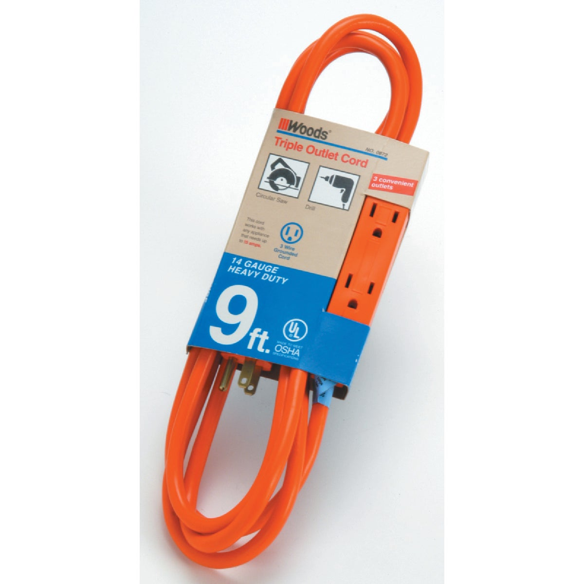 9' 14/3 3-OUTLET CORD - 0872 by Woods Wire Coleman