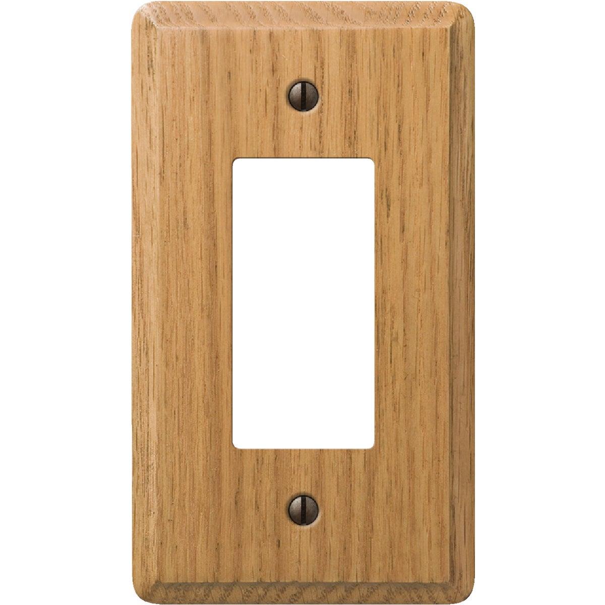 Amerelle 1-Gang Solid Oak Rocker Decorator Wall Plate, Light Oak