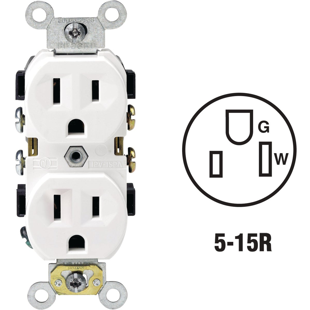 WHT DUPLEX OUTLET - 112-BR15-00W by Leviton Mfg Co