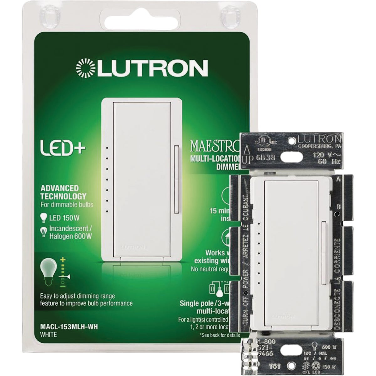 DIGITAL DIMMER - MACL-153MH-WH by Lutron Elect Co Inc