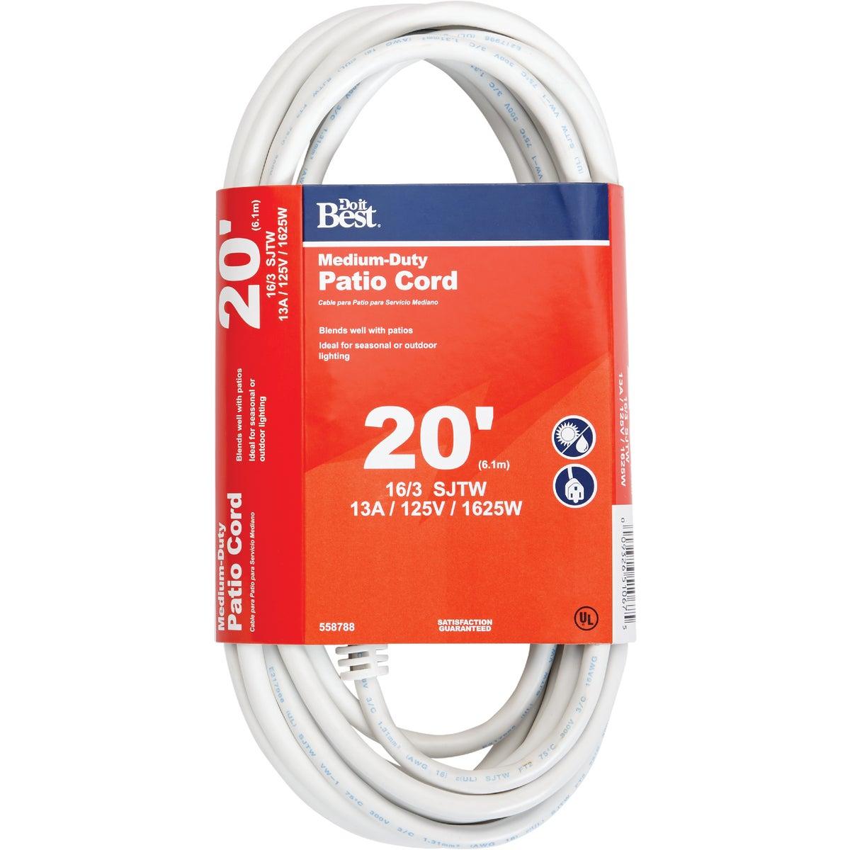 20' 16/3 WHITE EXT CORD