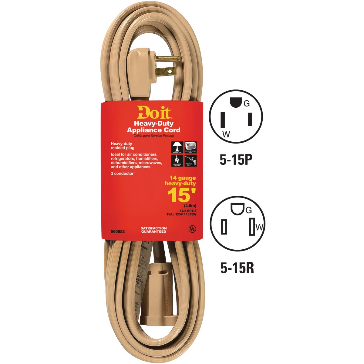 15' 14/3 BEIGE A/C CORD - 550047 by Coleman Cable Hwg