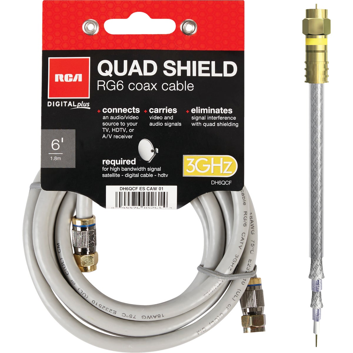 6' QUAD SHIELD CABLE
