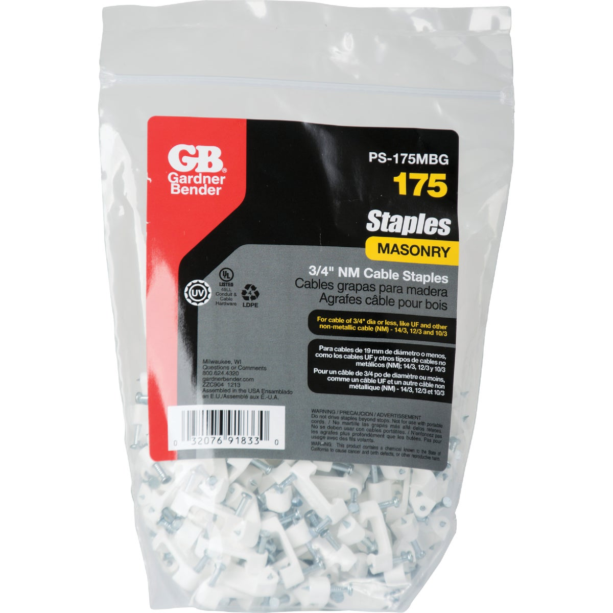 "3/4"" PLASTIC STAPLE - PS-175BG by G B Electrical Inc"