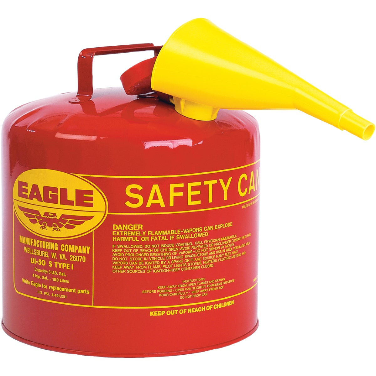 RED 5GAL GAS SAFETY CAN - UI-50-FS by Eagle Mfg Co