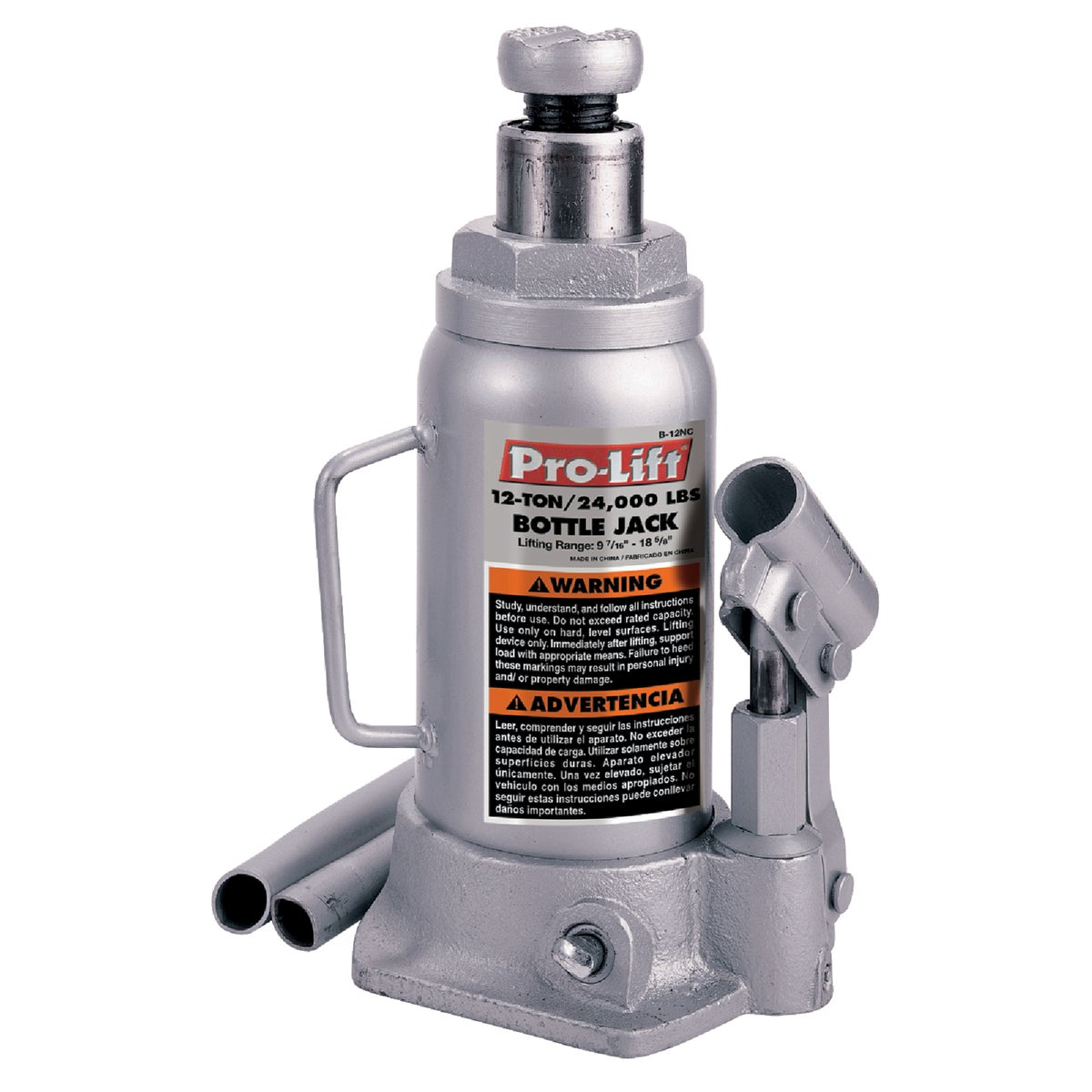 Pro-Lift B-012D Grey Hydraulic Bottle Jack - 12 Ton Capacity