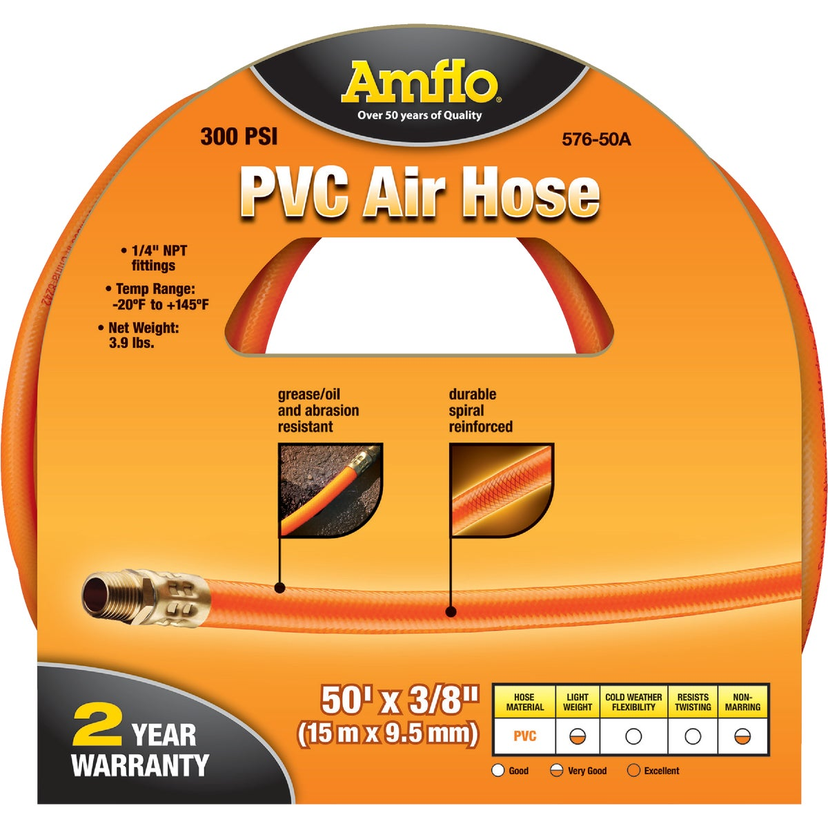 "3/8""X50' PVC AIR HOSE - 576-50A-10 by Plews  Lubrimatic"
