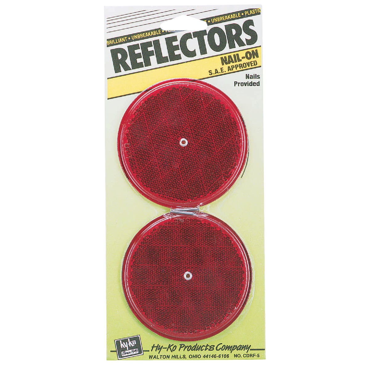 NAIL ON RED REFLECTORS - CDRF-5R by Hy Ko Prods Co