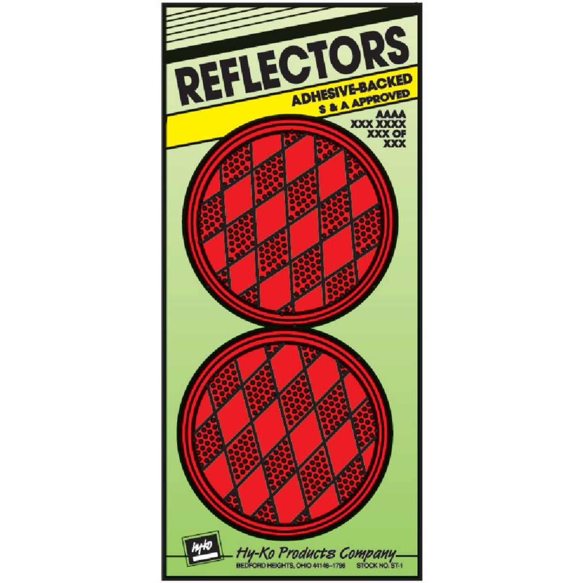 PRESS ON RED REFLECTORS - CDRF-4R by Hy Ko Prods Co