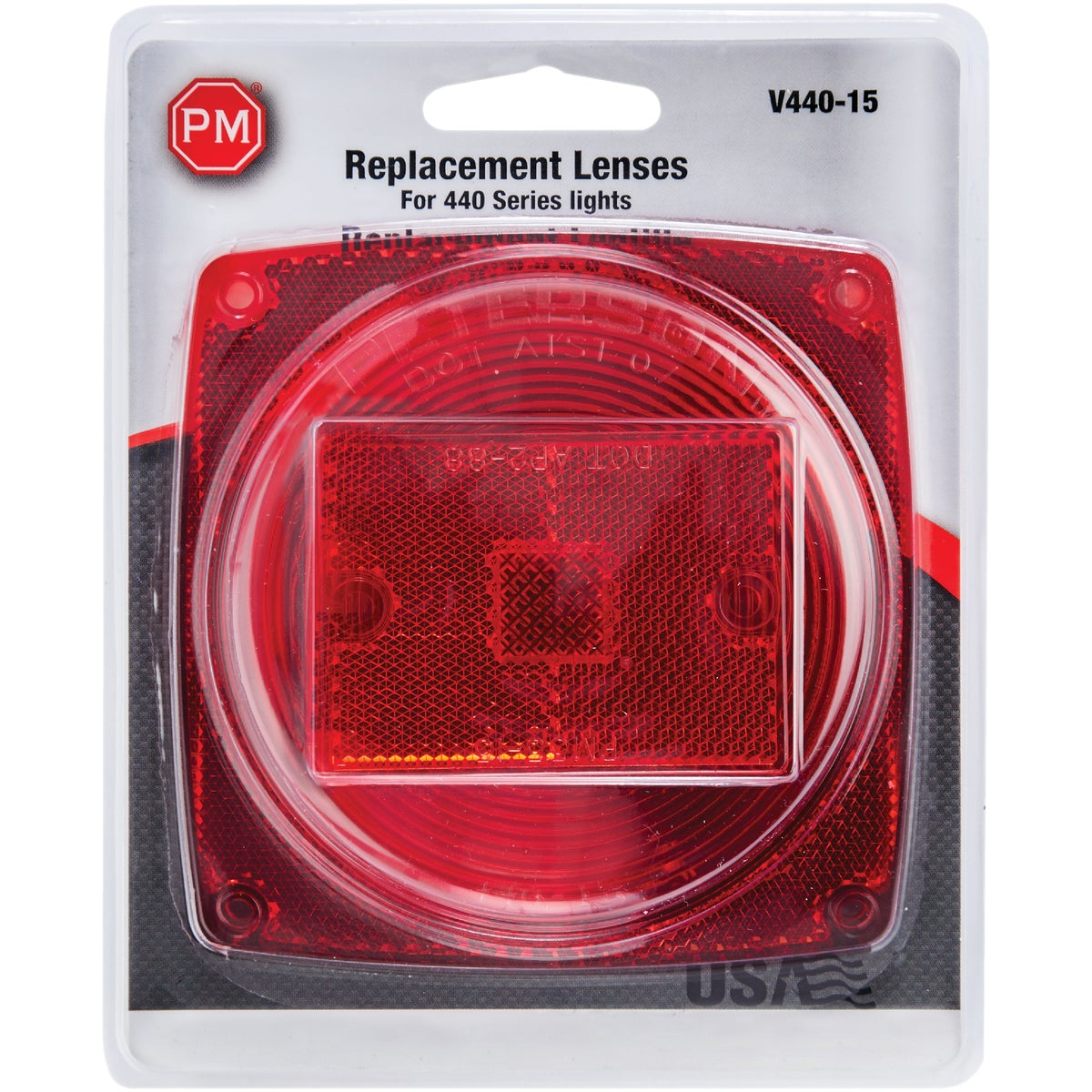 "4-1/2"" RED SQ LENS - V440-15 by Peterson Mfg Co"