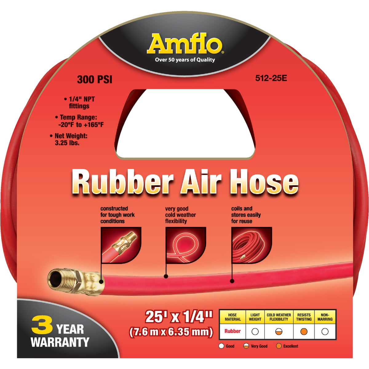 Plews/Lubrimatic 1/4X25' RUBBER AIR HOSE 512-25E