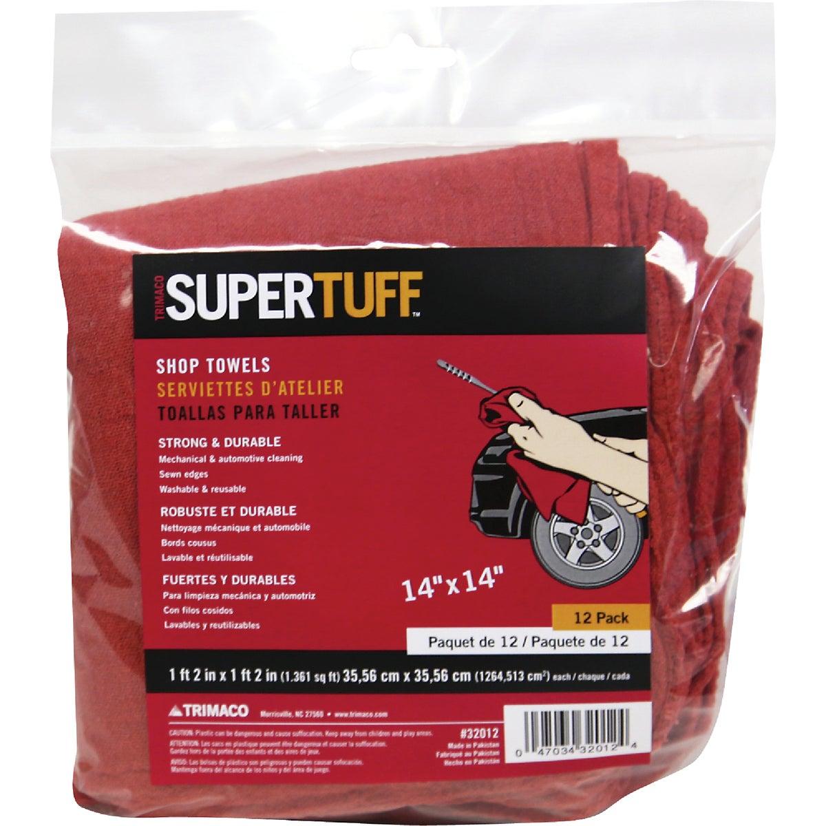 12Pk Red Shop Towels