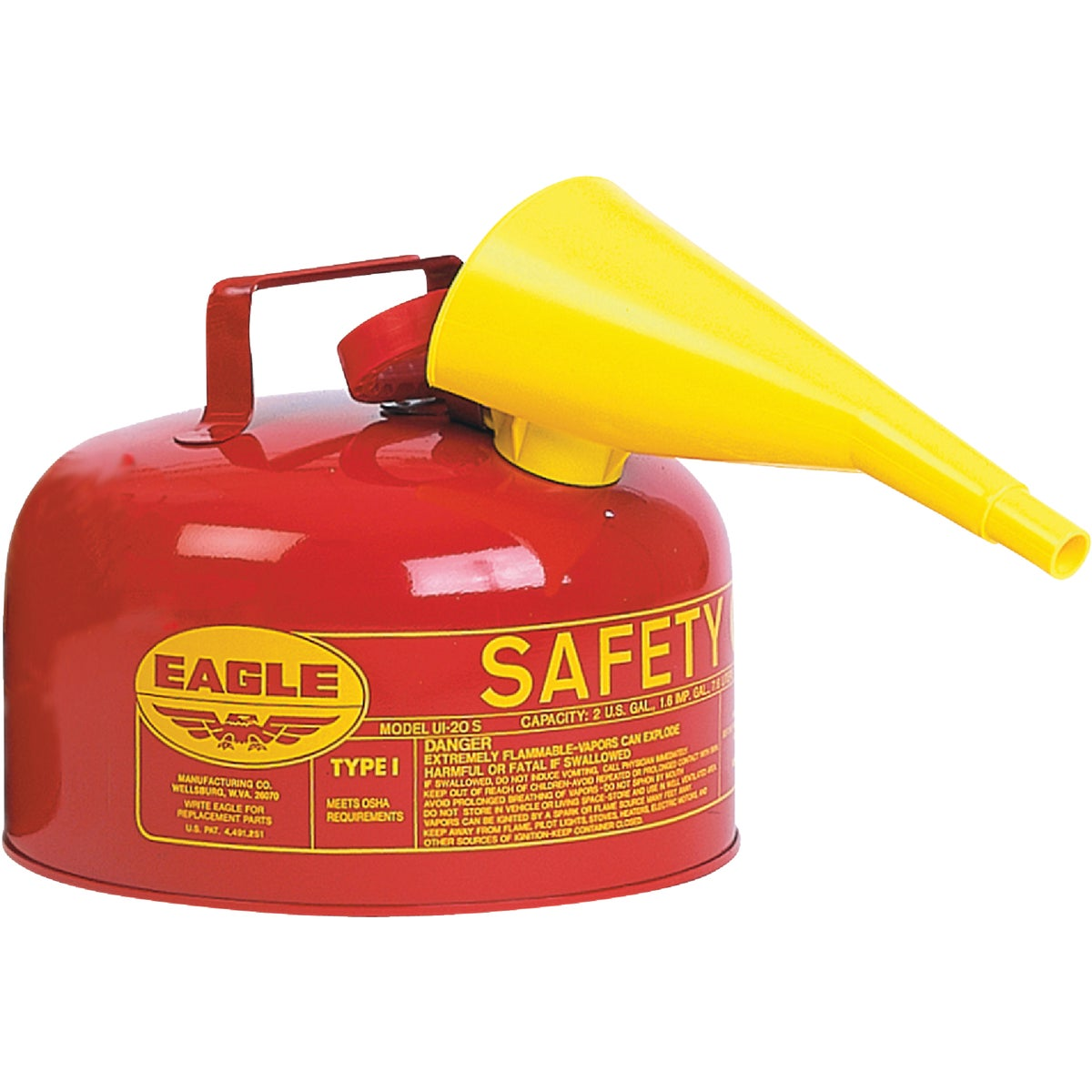 Eagle UI-20-FS Red Galvanized Steel Type 1 Gasoline Safety Can with Funnel, 2...