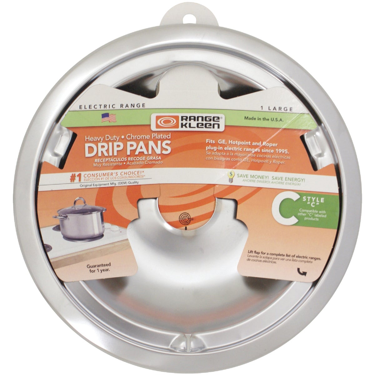 "8"" CHRM C STYLE DRIP PAN - 180A by Range Kleen Mfg Inc"