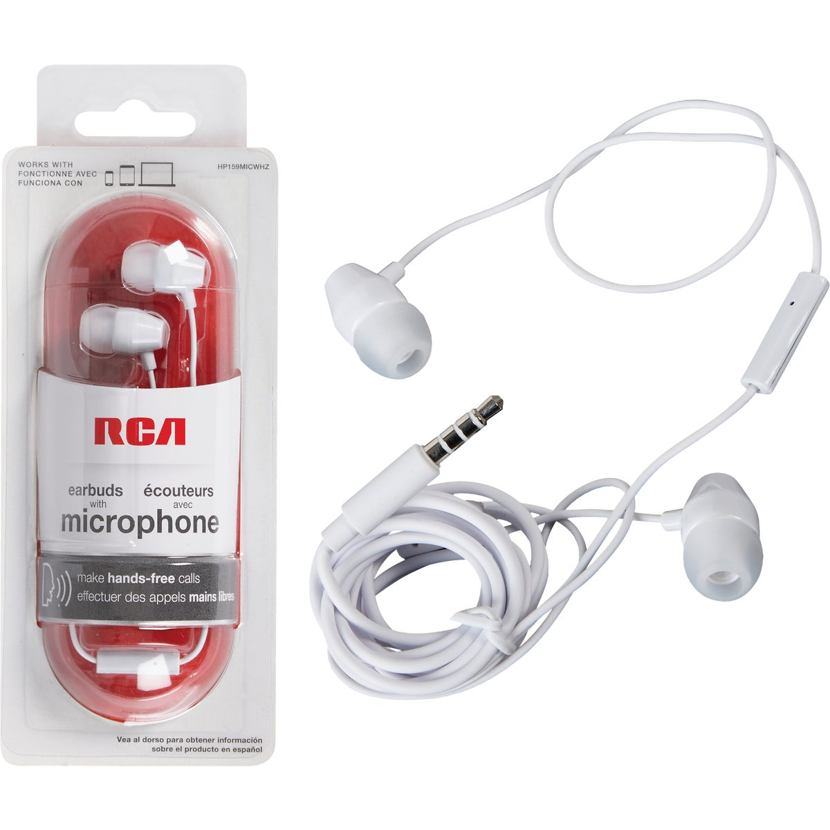WHITE MICROPHONE/EARBUD - HP159MICWH by Audiovox Accessories