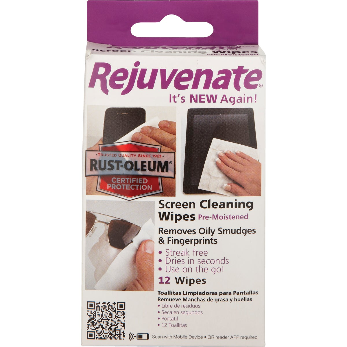 Rejuvenate Electronic Screen Cleaner Wipes, RJCST