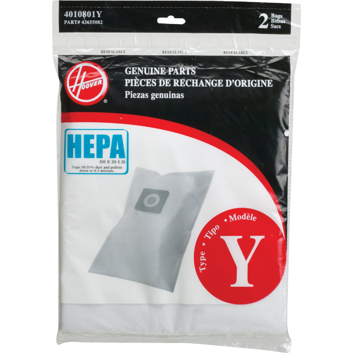 TYPE Y VAC BAG W/HEPA - AH10040 by Hoover Co