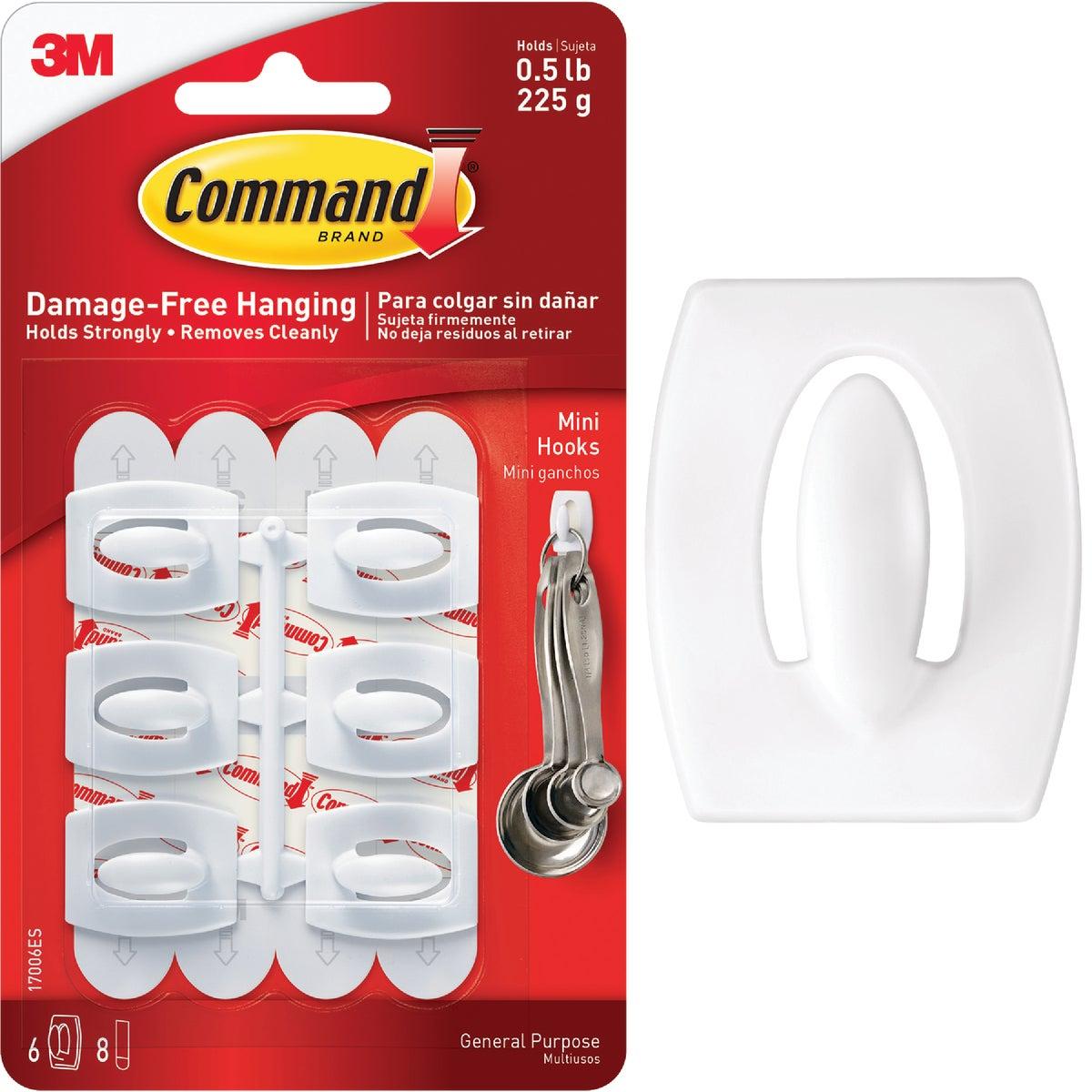 3M Command White Mini Adhesive Hook (6-Pack)