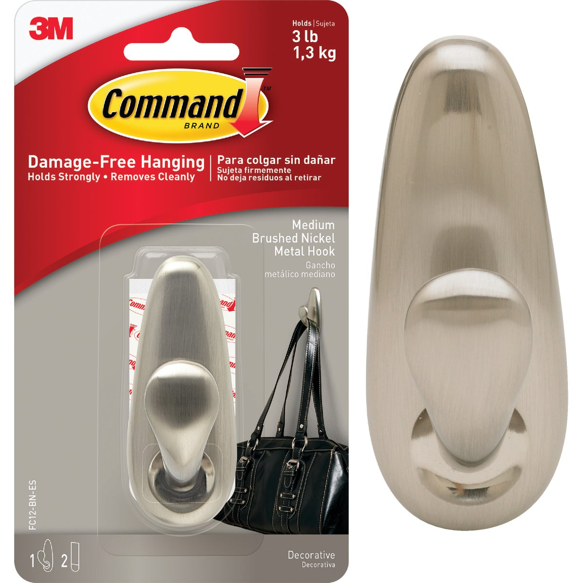 COMMAND MED NICKEL HOOK - FC12-BN by 3m Co