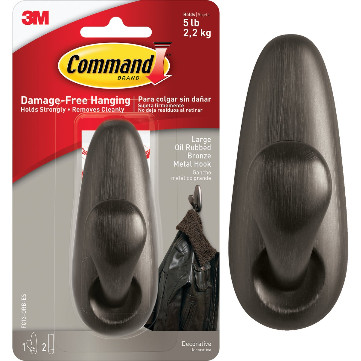 COMMAND LRG BRONZE HOOK - FC13-ORB by 3m Co