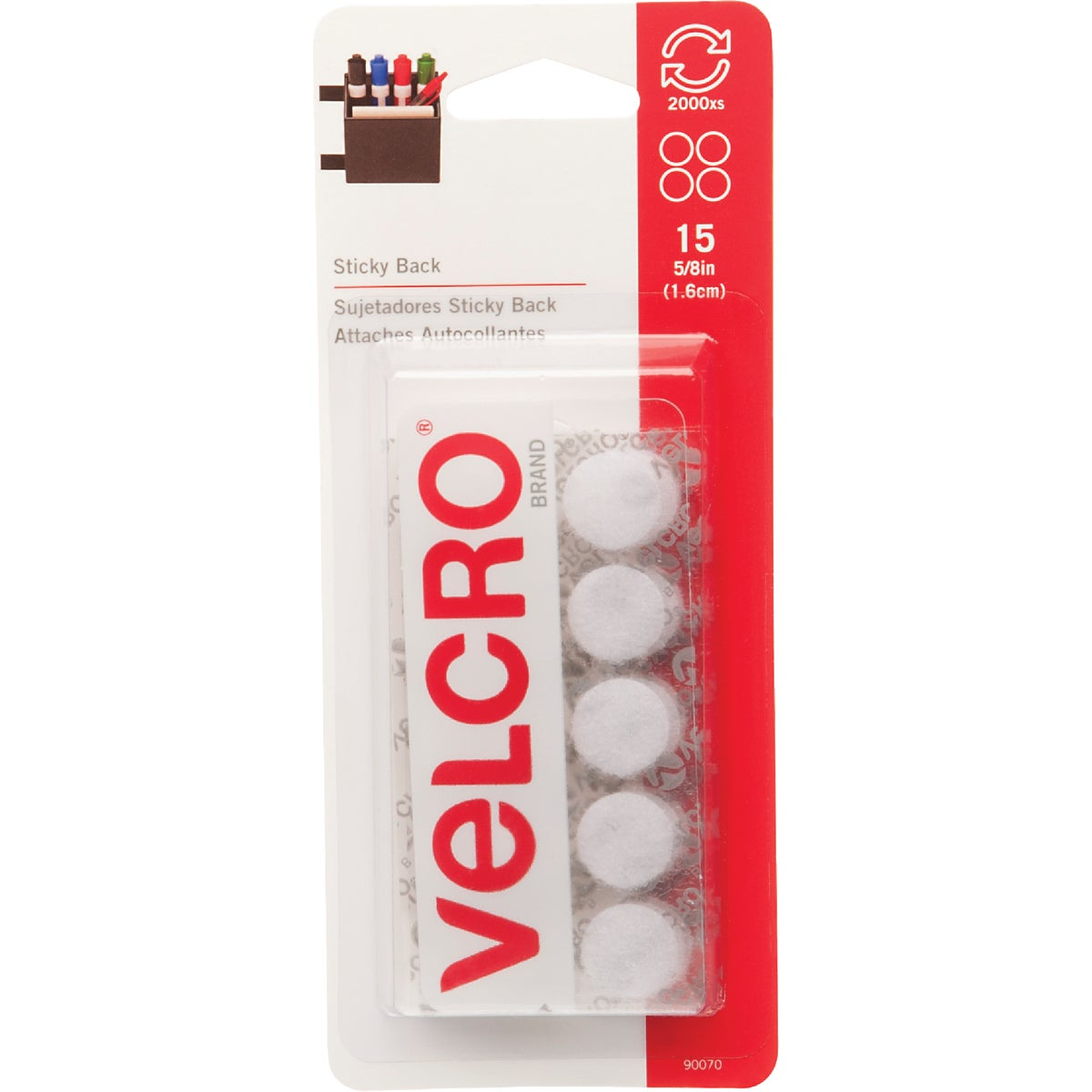 WHT RND ADHSIVE FASTENER - 90070 by Velcro Usa