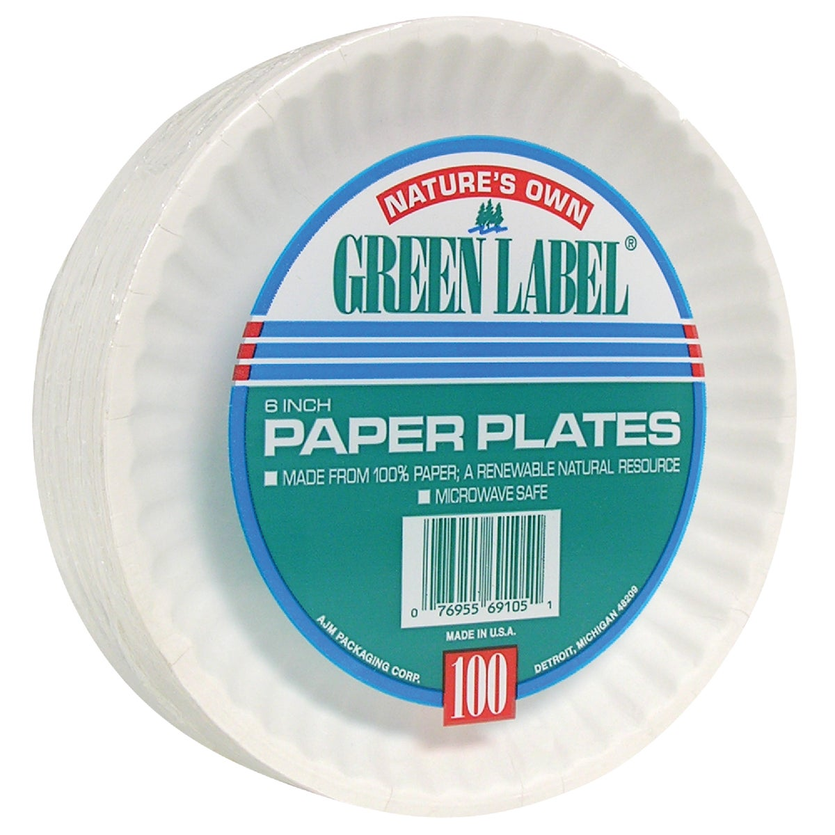 "100 COUNT 6"" PAPER PLATE"
