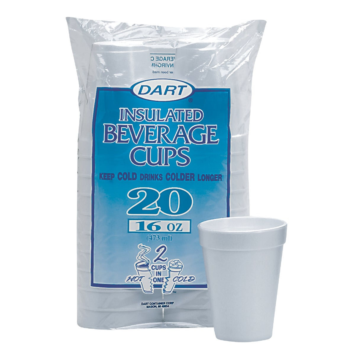 16OZ FOAM CUPS - 16FP20 by Dart Cont/d Bassett