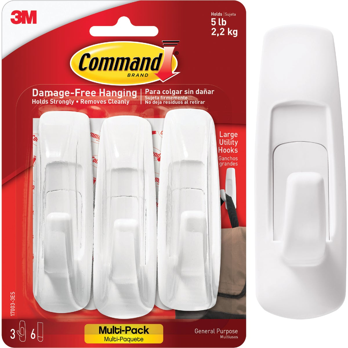 COMMAND LRG UTILITY HOOK - 17003-VP-3PK by 3m Co