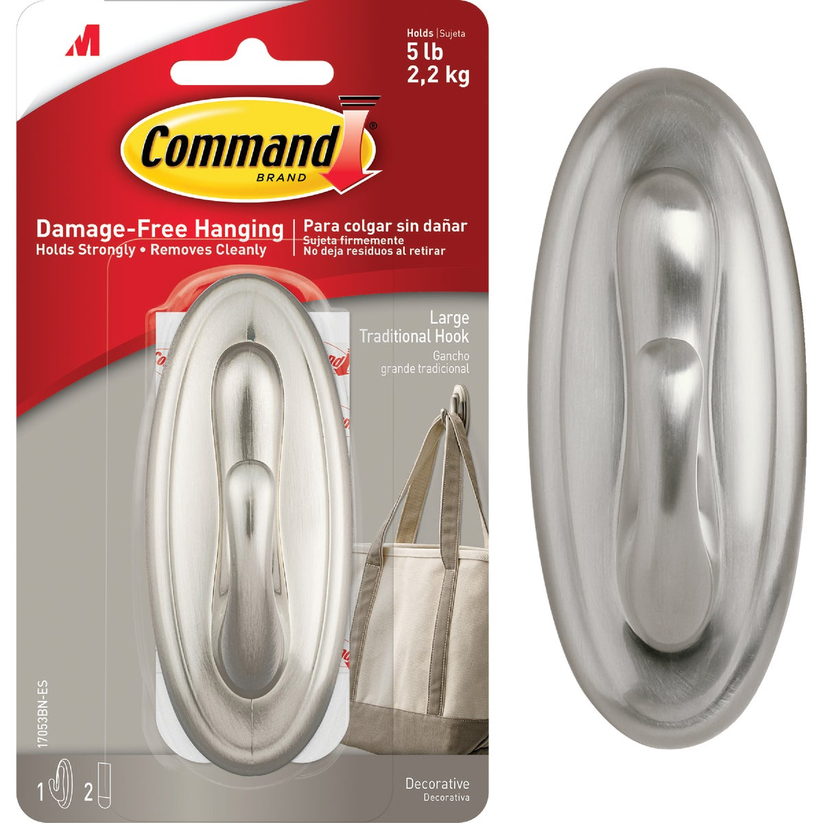 COMMAND LRG NICKEL HOOK - 17053BN by 3m Co