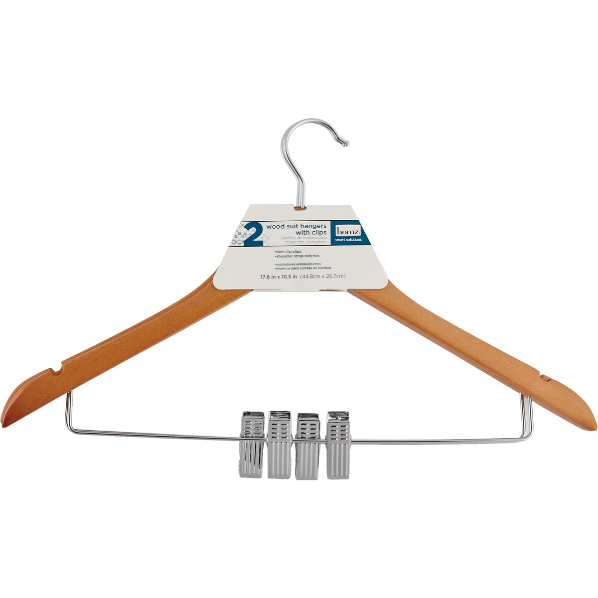WOOD SUIT HANGER W/CLIPS - 8657WN2.18 by Homz  Seymour