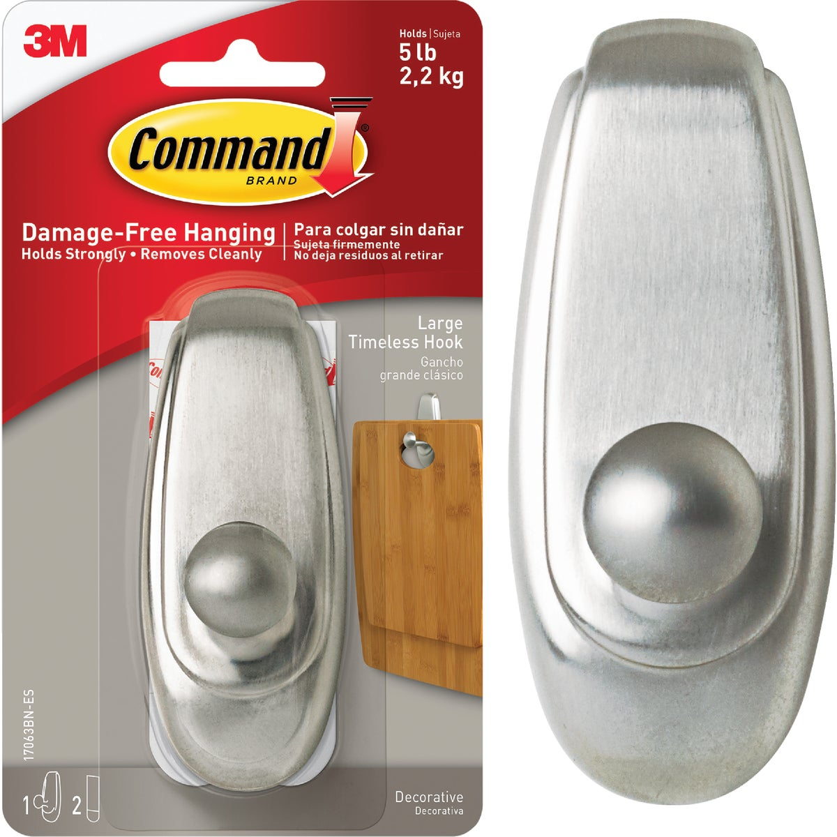 COMMAND LRG NICKEL HOOK - 17063BN by 3m Co