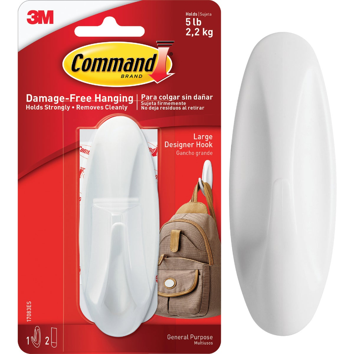 3M Command Large Utility Designer Adhesive Hook