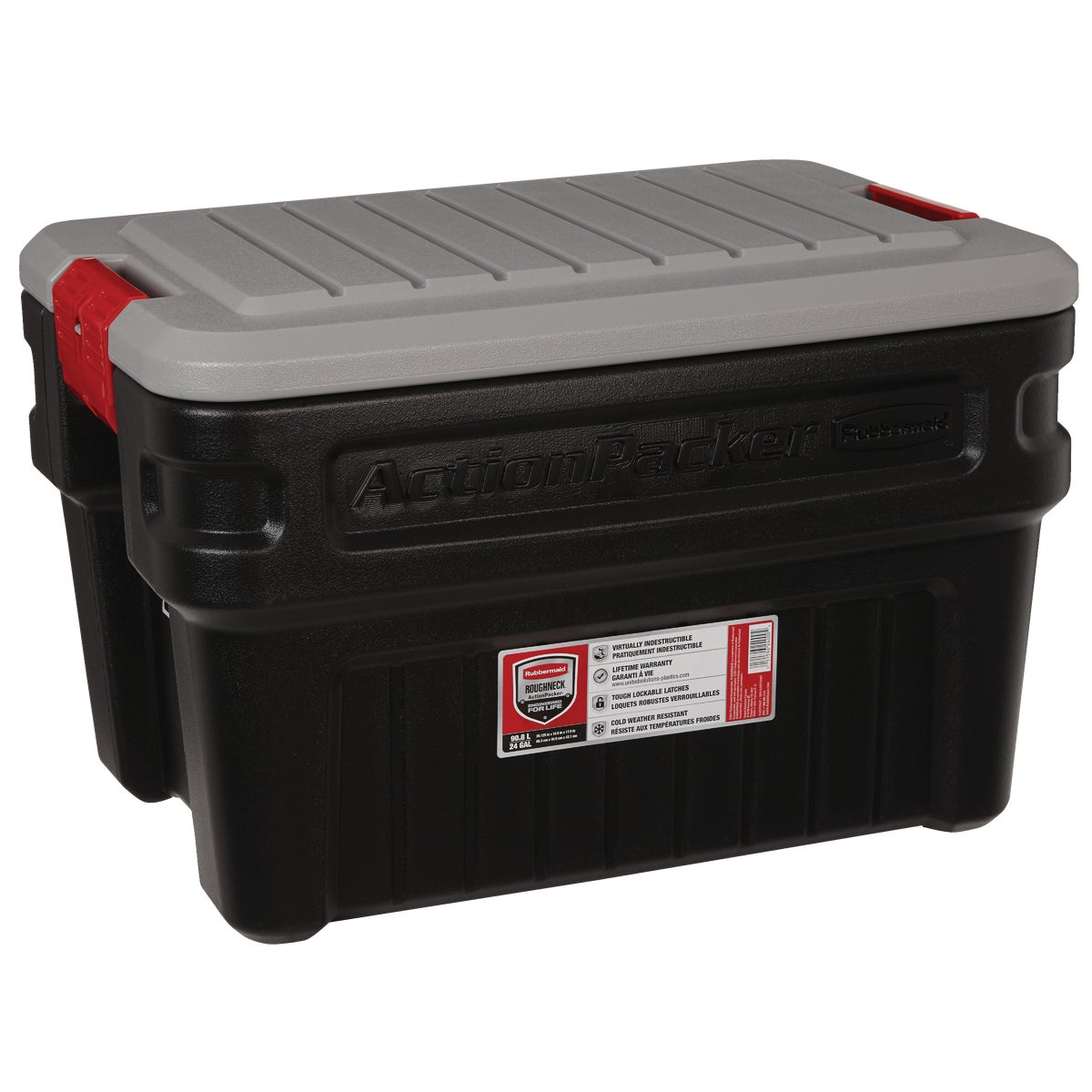 24GAL BLK ACTIONPACKER - 117204 by Rubbermaid