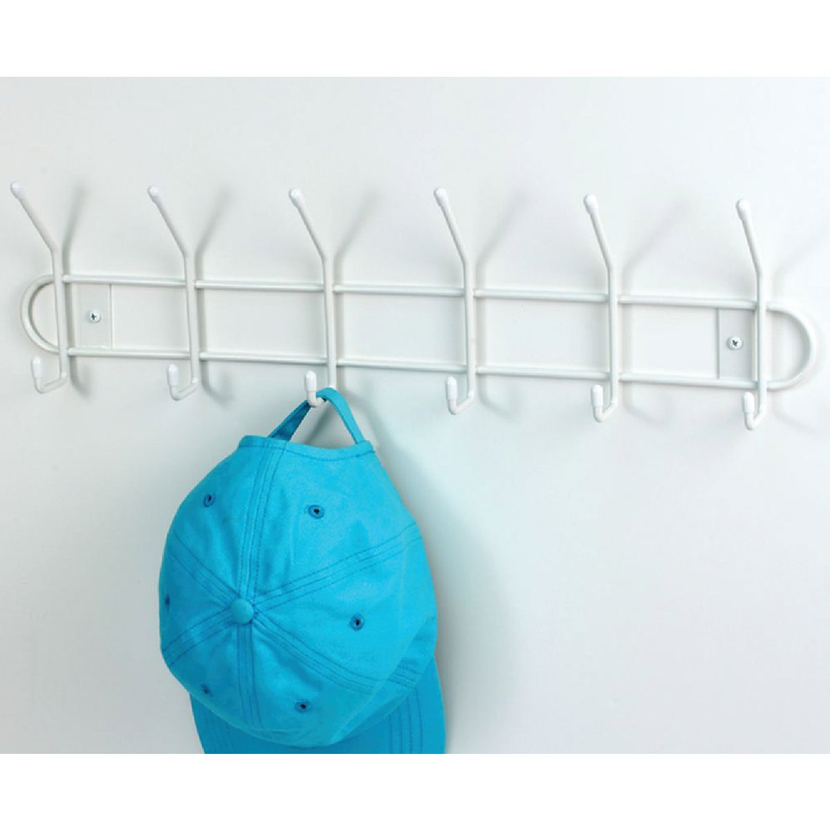 WHITE 6 HOOK RACK