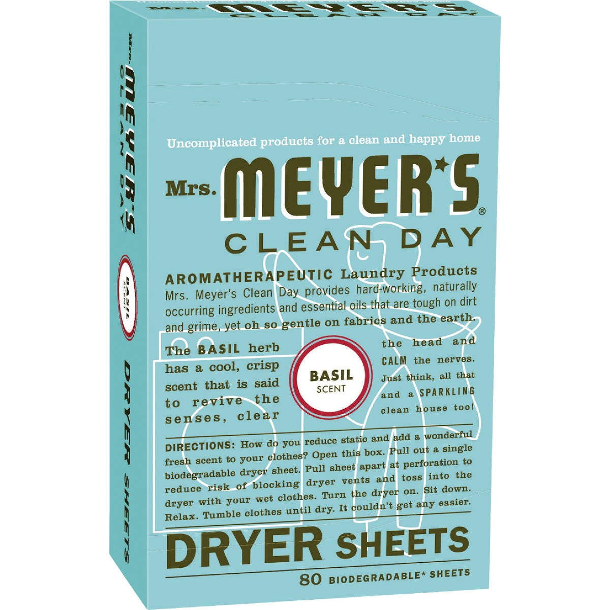 80CT BASIL DRYER SHEETS - 14448 by Mrs Meyers Clean Day