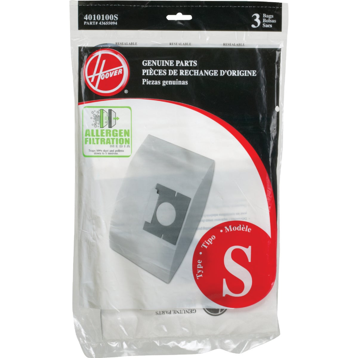 FILTRATION VACUUM BAG - 4010100S by Hoover Co