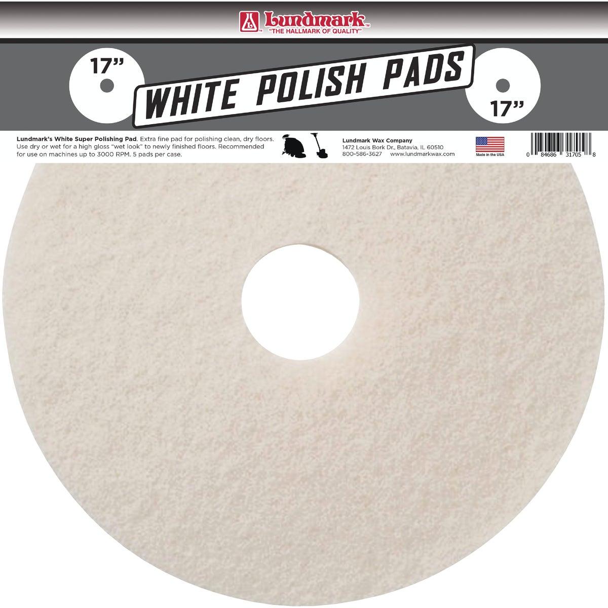 """17"""" WHITE BUFFER PAD - TKL17W by Lundmark Wax Co"""