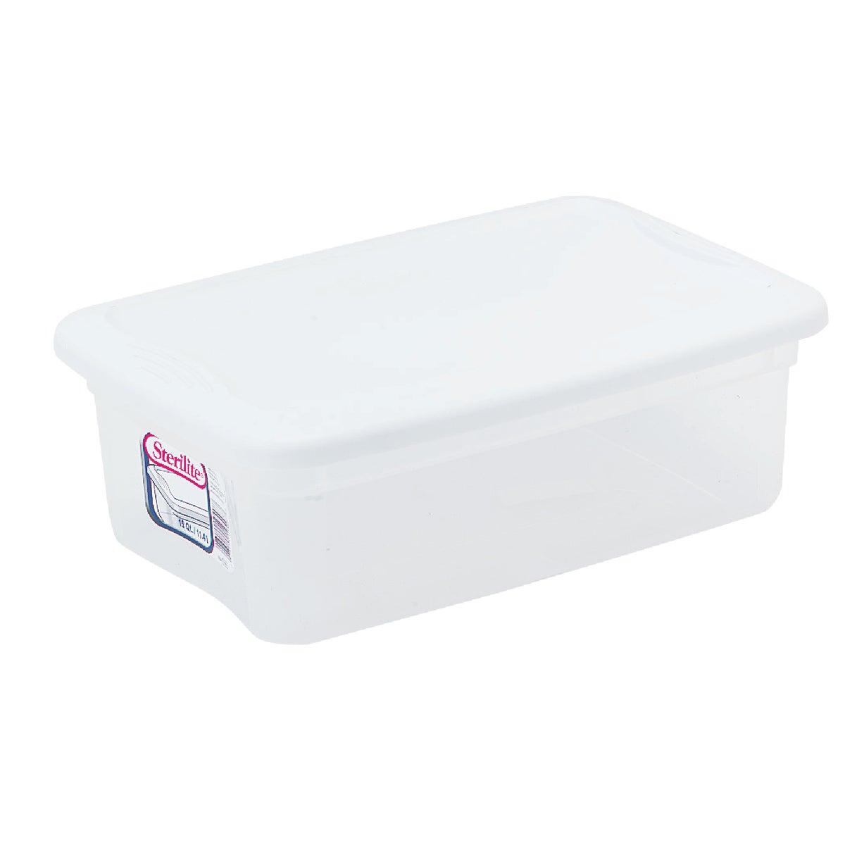 Sterilite? 16 Quart Basic Clear Storage Box with White Lid