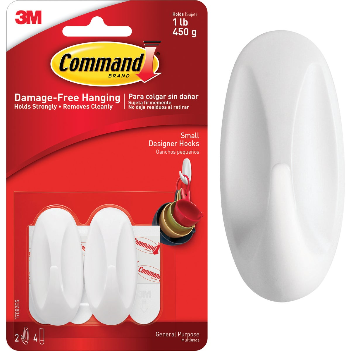 3M Command Small Utility Designer Adhesive Hook (2-Pack)