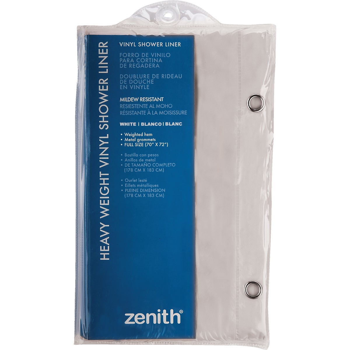 WHT SHOWER CURTAIN/LNR - H28W by Zenith Prod Corp