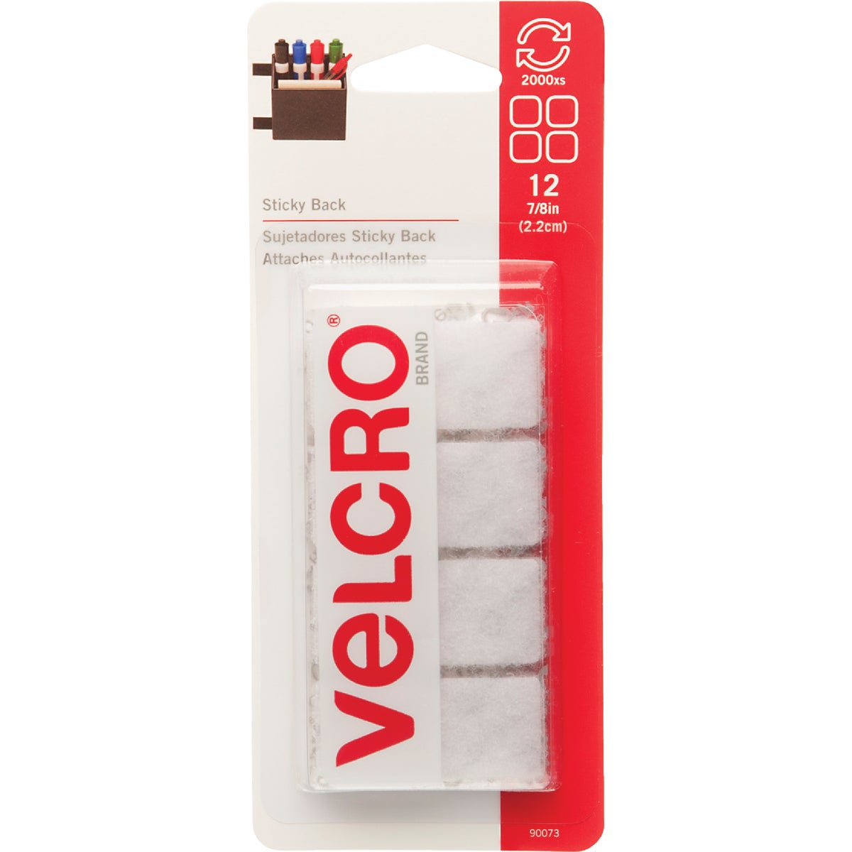 WHT SQ ADHESIVE FASTENER - 90073 by Velcro Usa