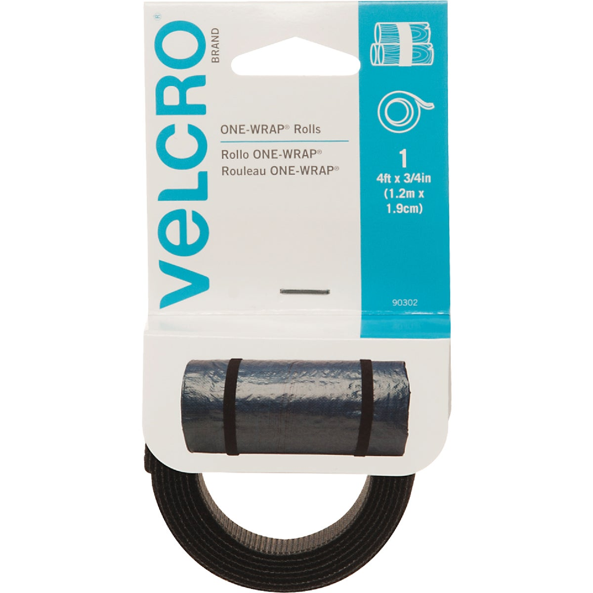 4' BLK ADHESIVE FASTENER - 90302 by Velcro Usa