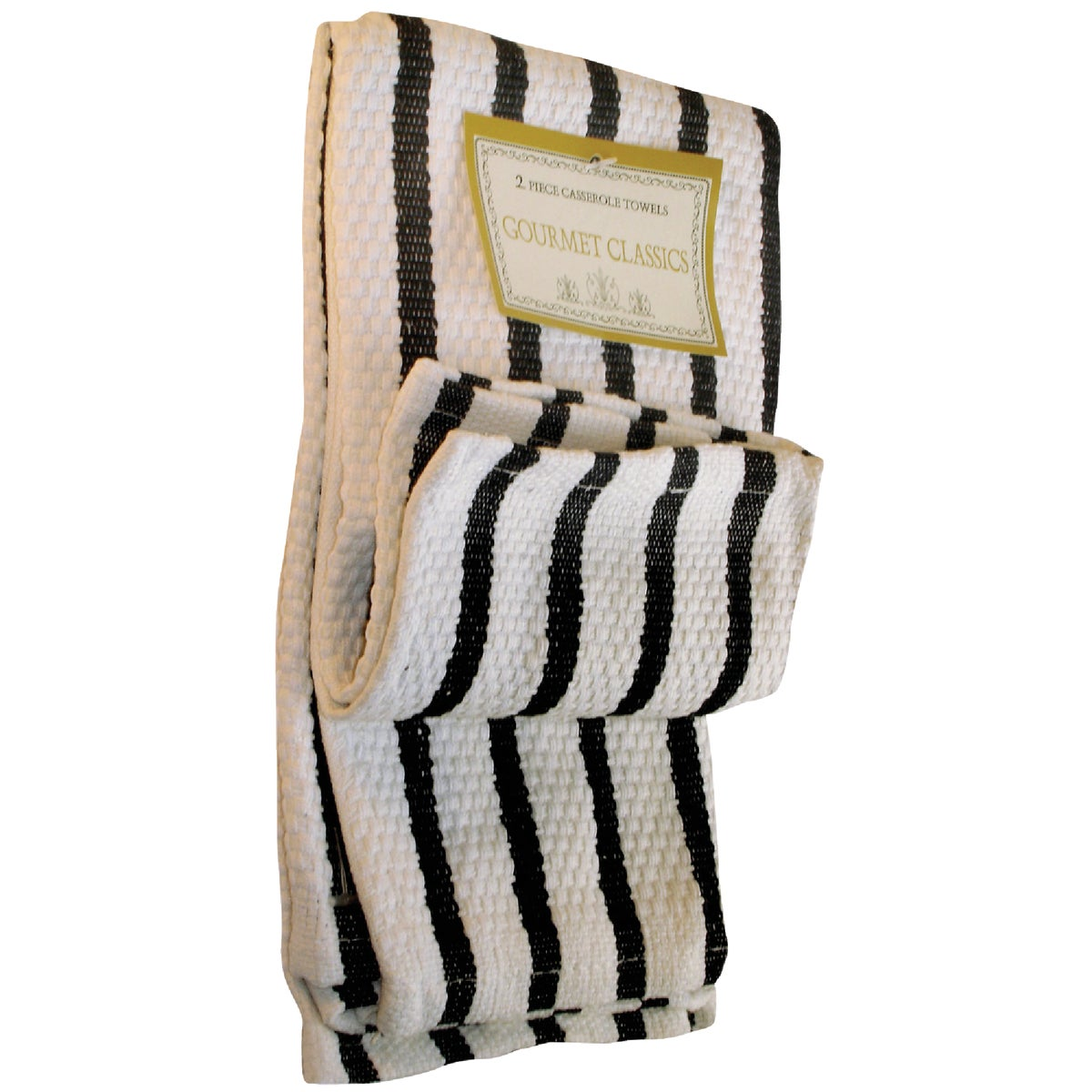 2PC BLK STRP DISHCLOTHS - 02623BL by Harold Import