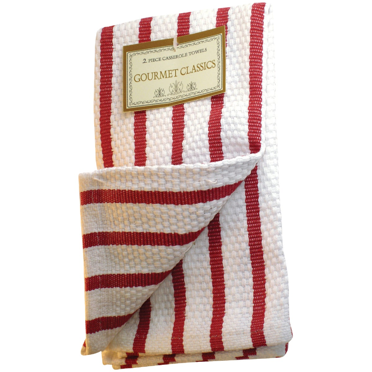 2PC RED STRP DISHCLOTHS - 02623RD by Harold Import